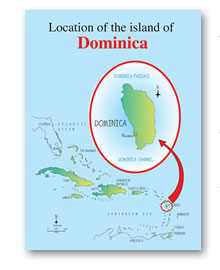 Location of the island of Dominica